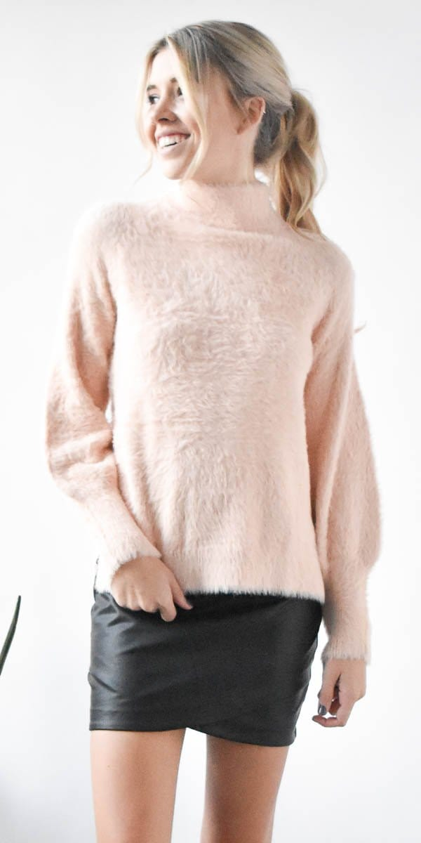 Willow & Clay Fuzzy Yarn Mockneck Sweater