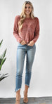 English Factory Scallop Hem Knit Sweater in Nude Pink