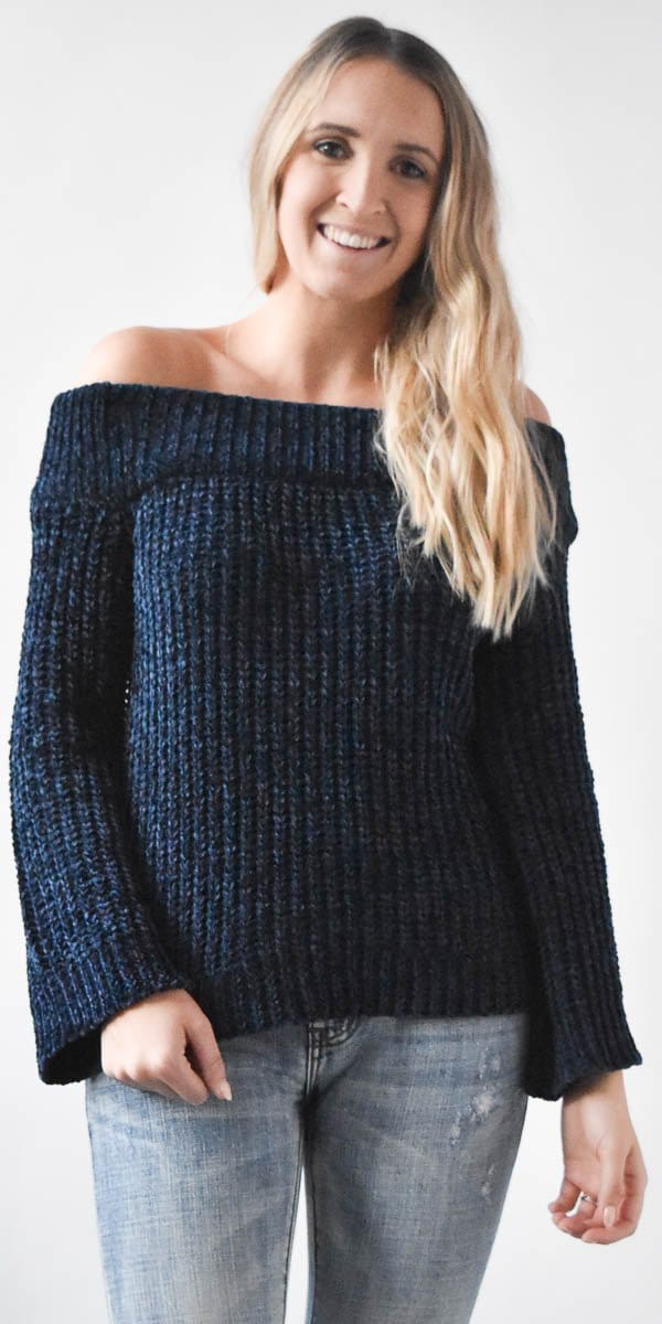 Endless Rose Off the Shoulder Chenille Sweater in Midnight Blue