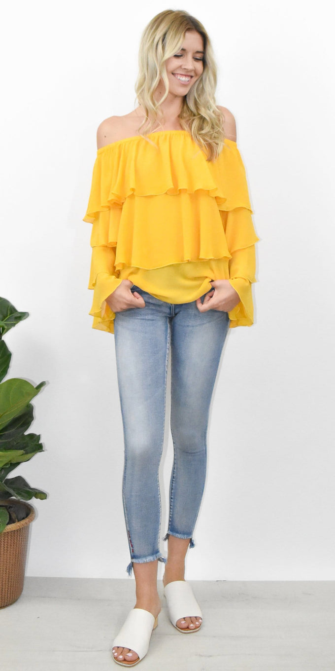 Show Me Your Mumu Chi Chi Top in Marigold Chiffon