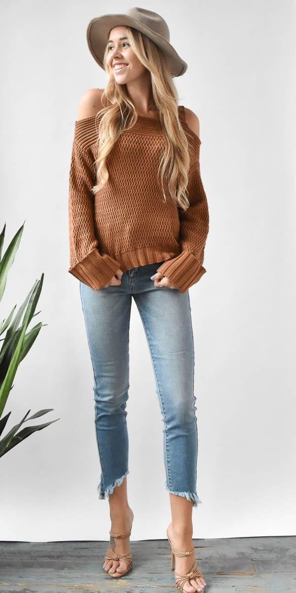 Endless Rose Cold Shoulder Wide Sleeve Sweater in Cinnamon