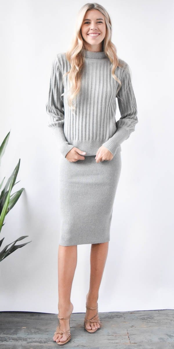 The Fifth Label Galactic Knit Skirt in Grey Marle