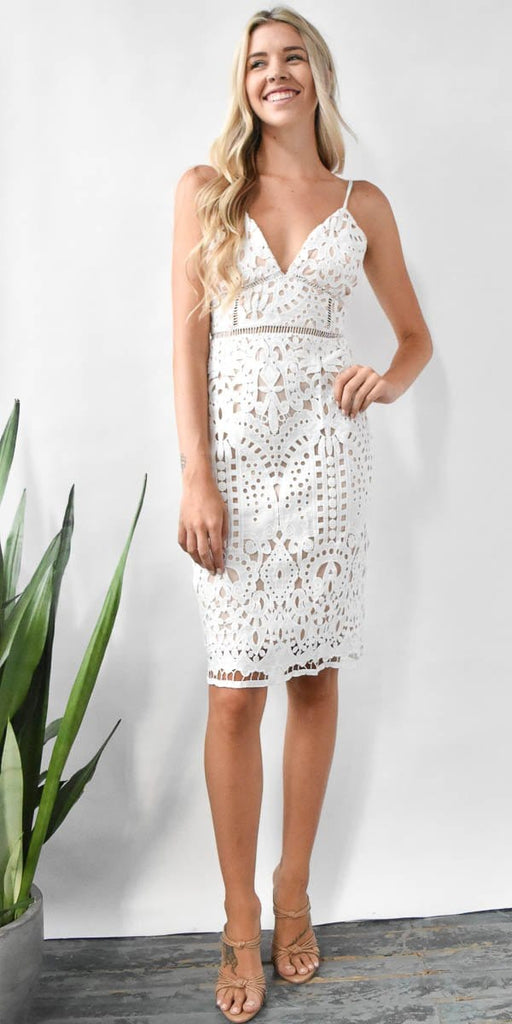 Devin White Lace Midi Dress
