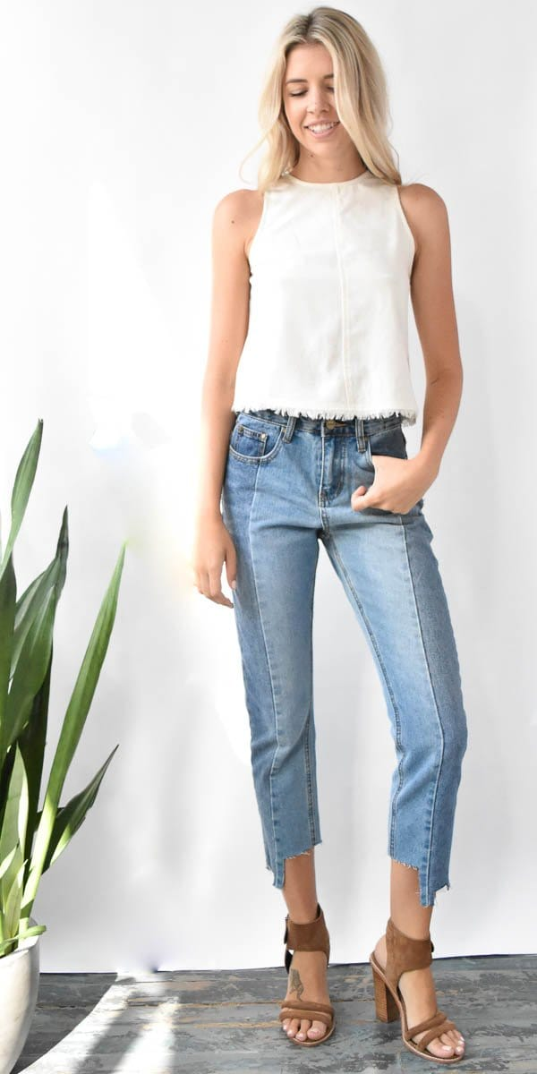 EVIDNT Patchwork Crop Skinny Jean