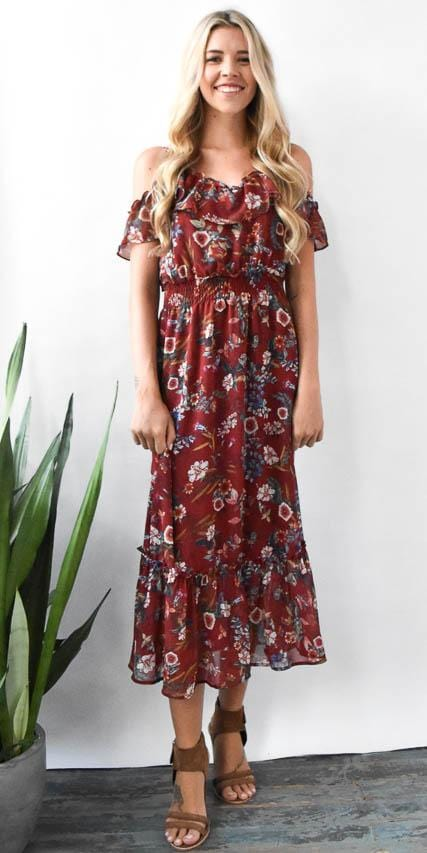 Willow & Clay Cold Shoulder Floral Midi Dress