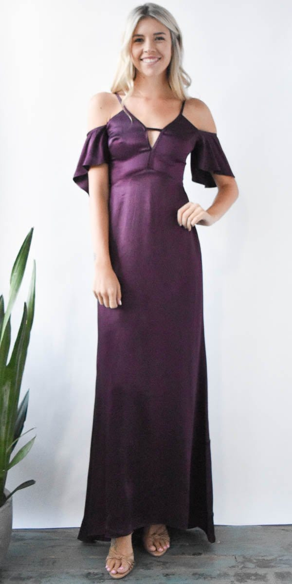 Ali & Jay Ride the Pony Gown in Plum Purple Satin