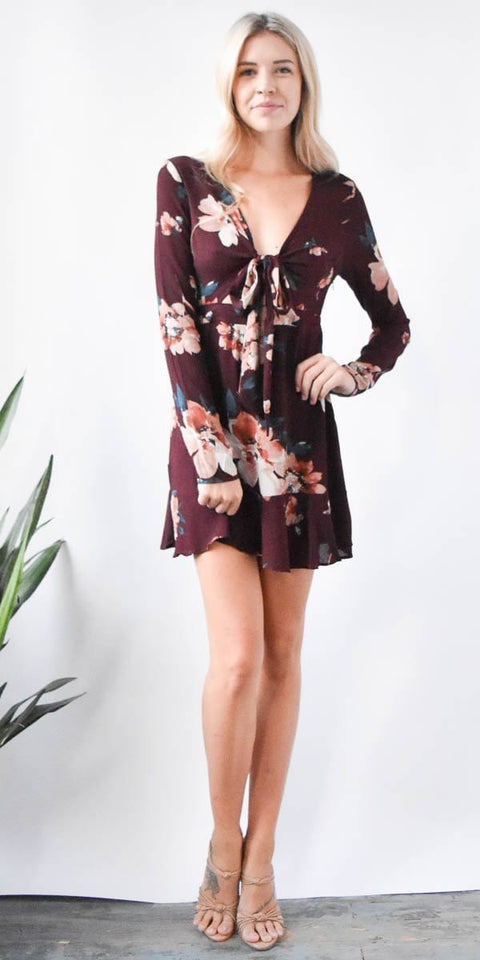 Burgundy Floral Mini Dress with Knot Tie