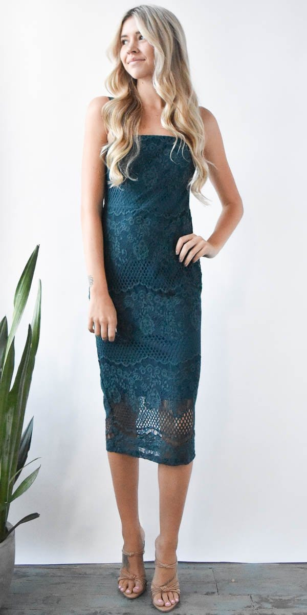 Lace Midi Dress in Deep Teal