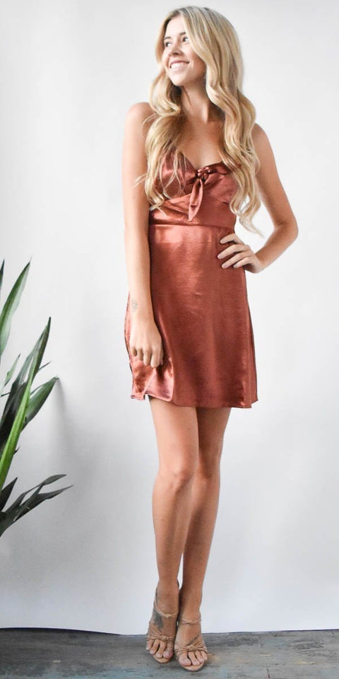 Lost + Wander Éclair Tie Front Dress in Copper