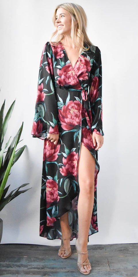 Show Me Your Mumu Anita Wrap Dress in Ruby Bloom Satin