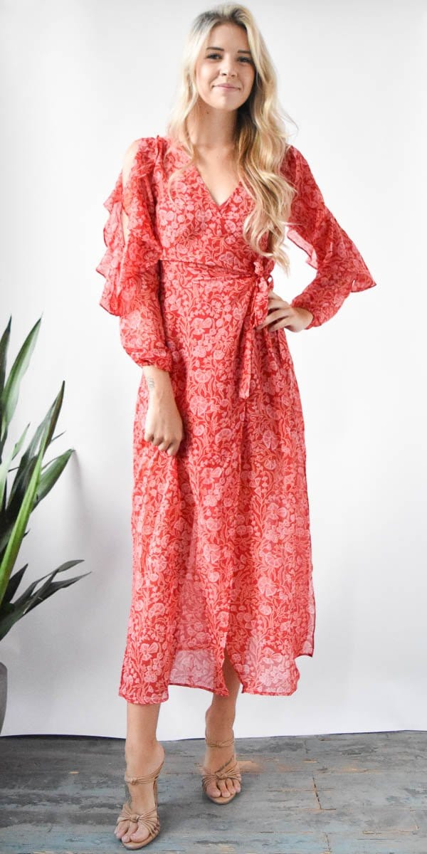 The Fifth Label Brushstrokes Dress in Red Floral Dream