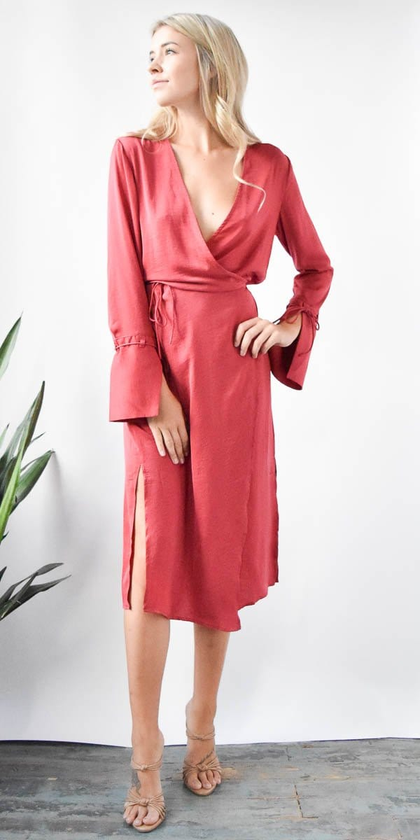 The Fifth Label Emergent Long Sleeve Dress in Red