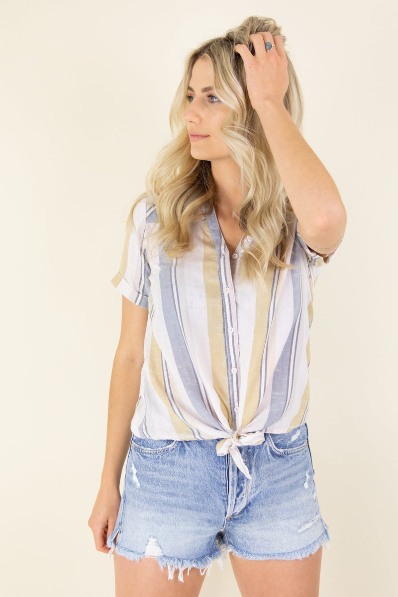 Trendy Stripe Tie Shirt