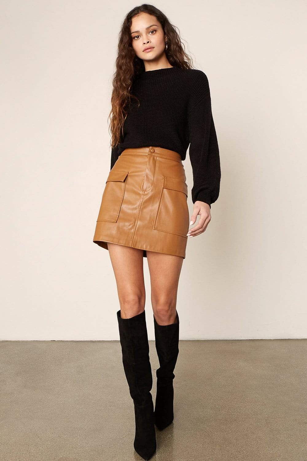 BB Dakota Leather Too Late Skirt