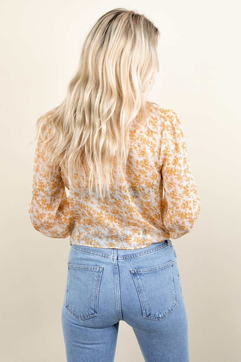 MINKPINK Lana High Neck Blouse Gold White