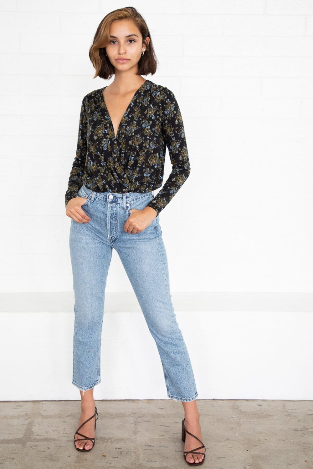 Free People Printed Turnt Bodysuit Night Combo