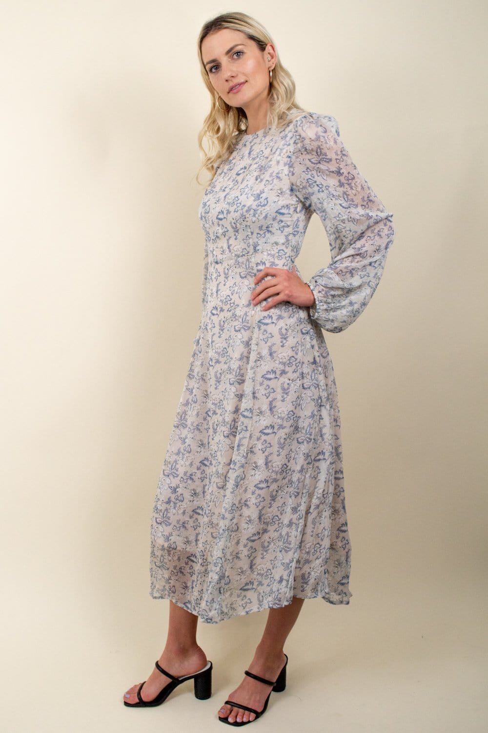 En Saison Vintage Floral Asymmetrical Maxi Dress