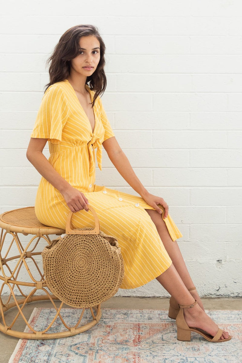 MINKPINK Tie Front Midi Dress Yellow Stripe