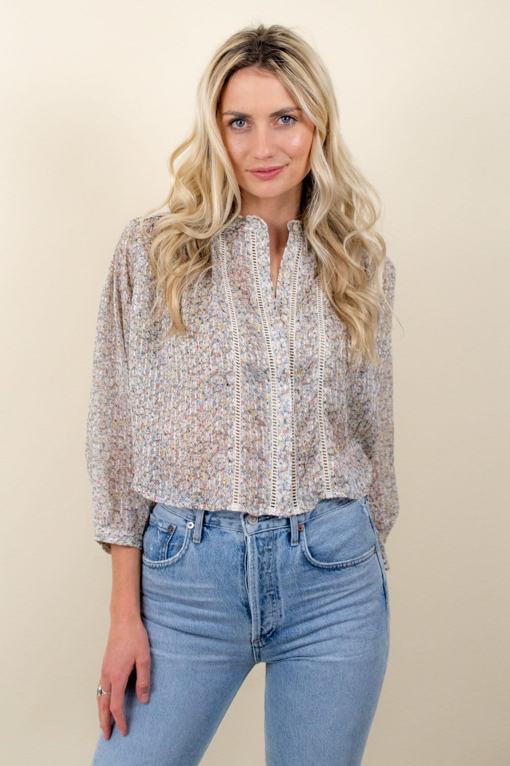 Bishop + Young St. Germain Crop Top Ivory Floral