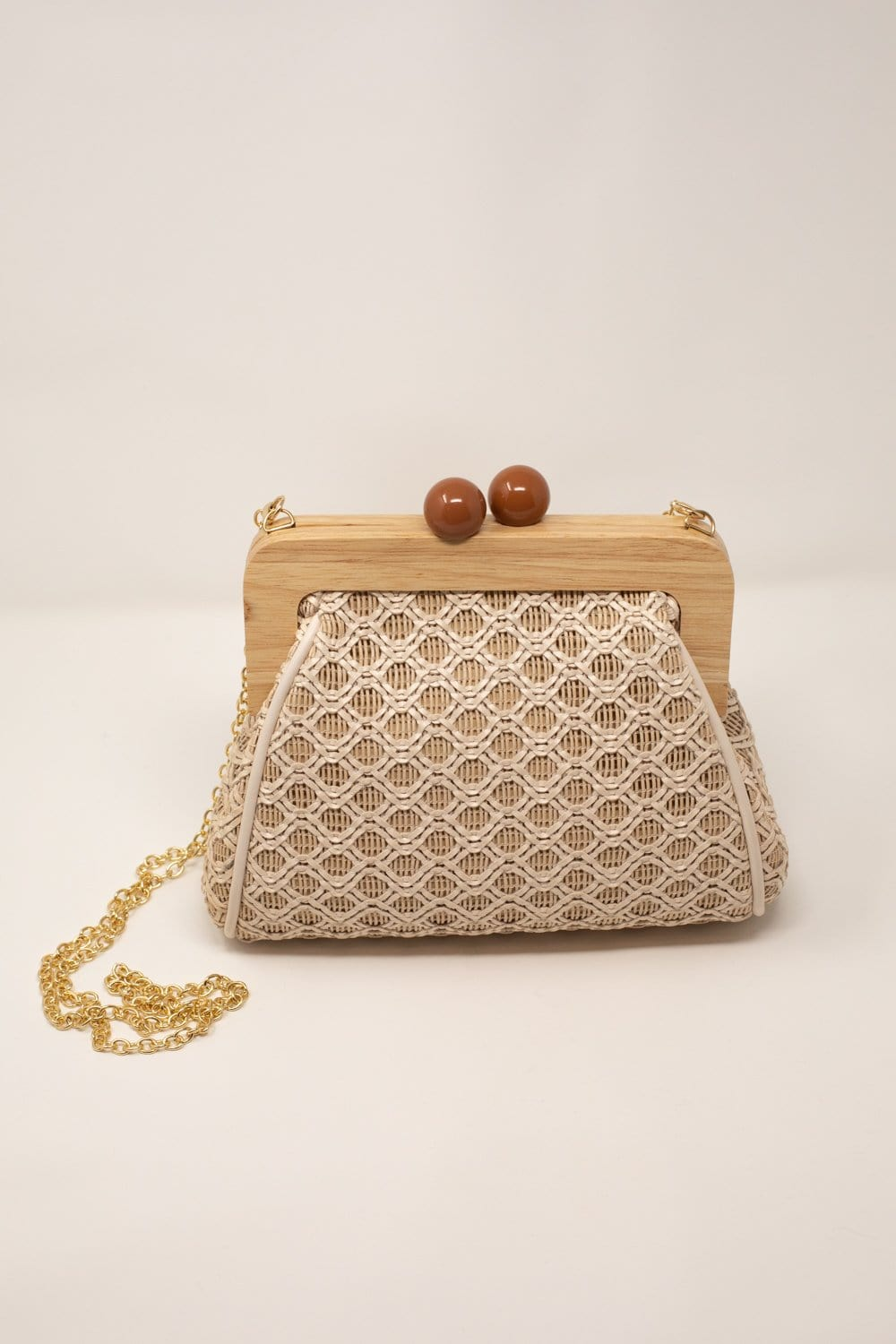 Brenna Wooden Wicker Bag