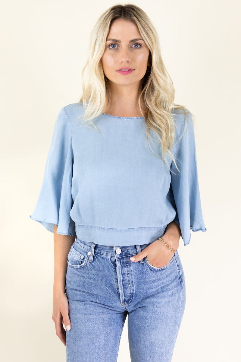 Jack by BB Dakota Chambray The Light Tie Back Blouse | Wild Dove Boutique