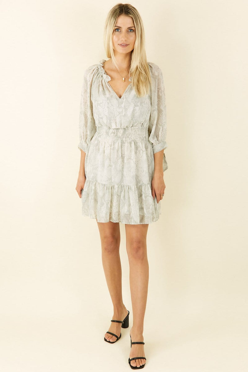 Le Rêveur This Is Us Snakeskin Mini Dress Grey Snake