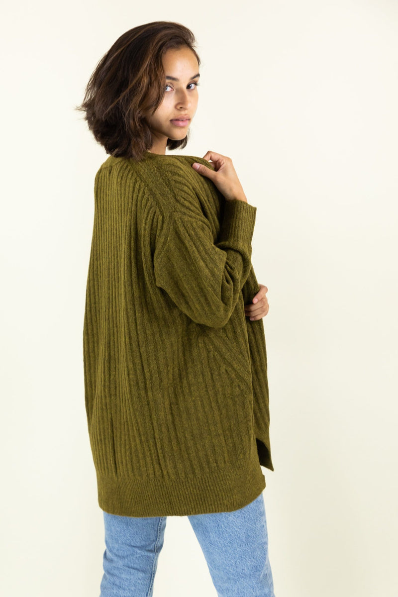 WREN The Label Liam Textured Rib Cardigan