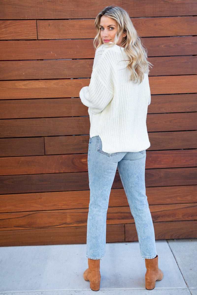 Cable Knit Boat Neck Sweater
