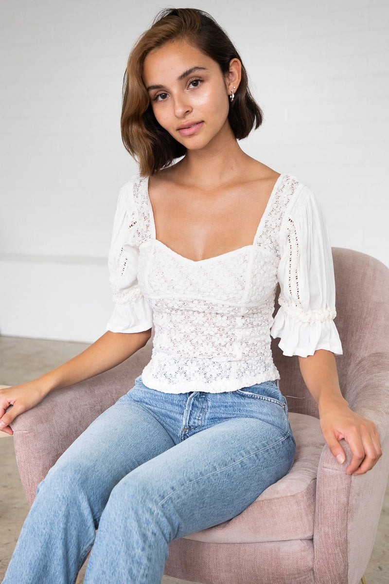 Free People Spring Fling Top Ivory