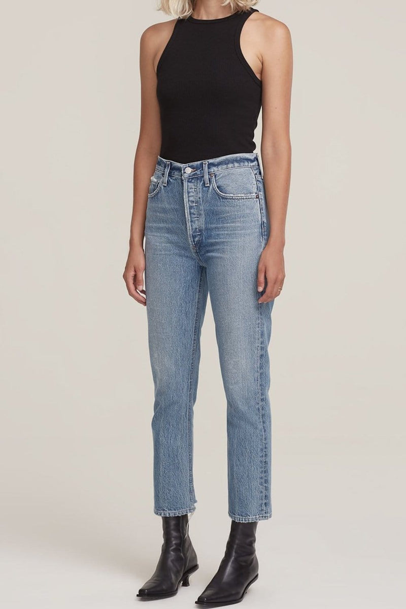AGOLDE Riley High Rise Straight Crop Jean Emulsion