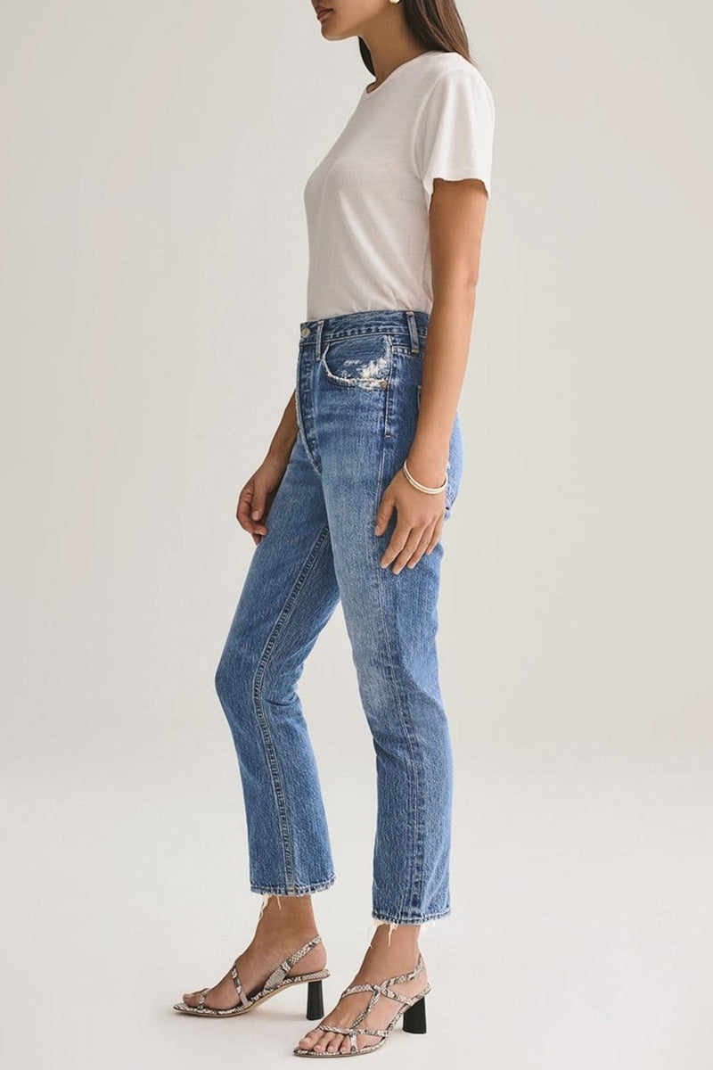 AGOLDE Riley High Rise Straight Crop Jean Frequency