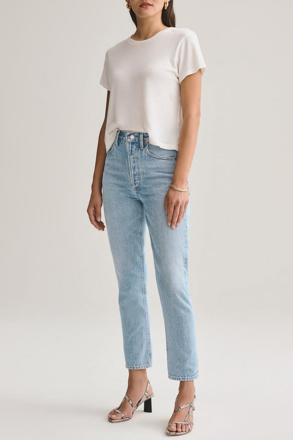 AGOLDE Riley Crop Hi Rise Straight Jean Renewal.