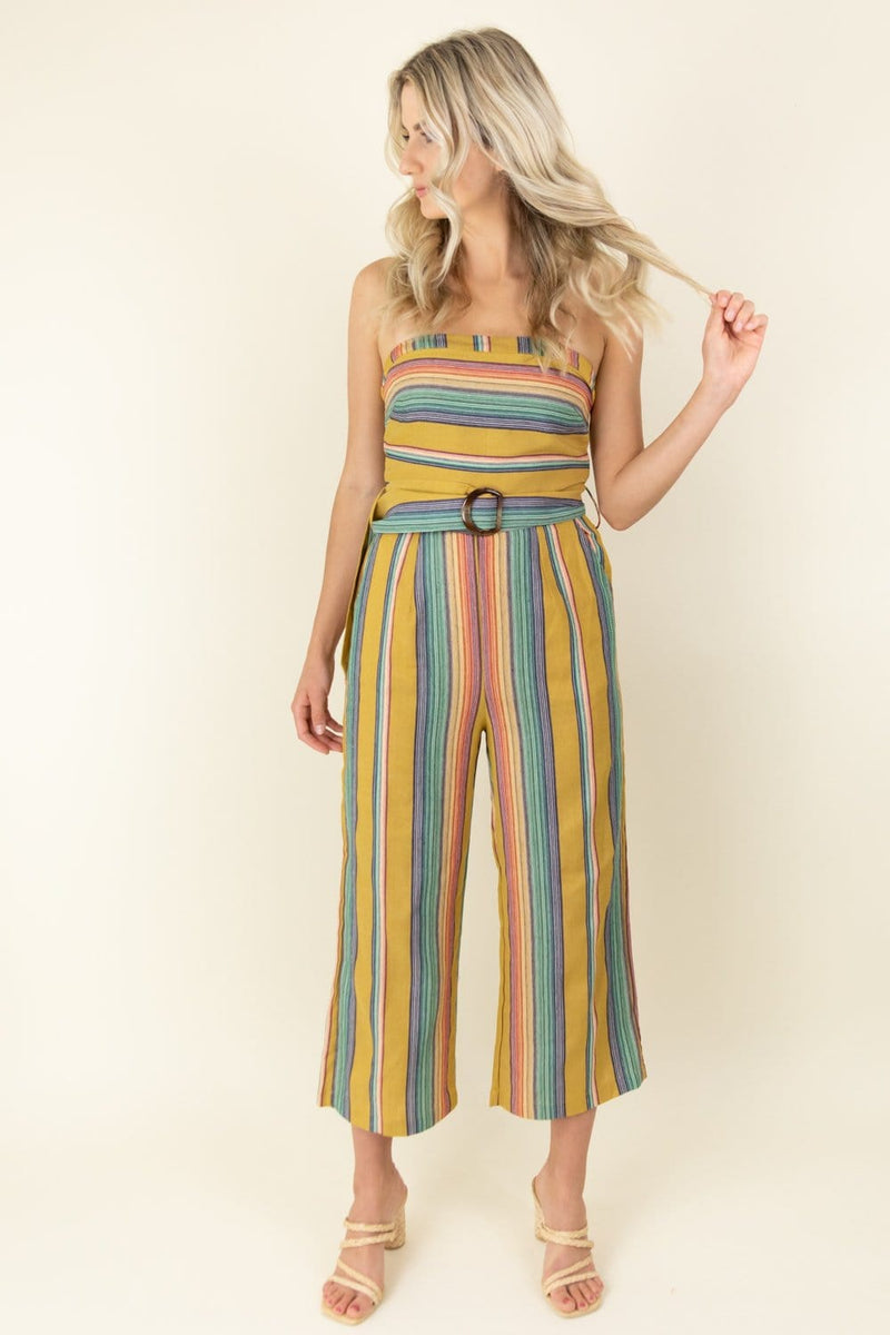 Moon River Strapless Wide Leg Jumpsuit