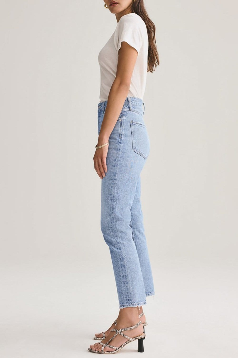AGOLDE Riley Crop High Rise Straight Jean Blur