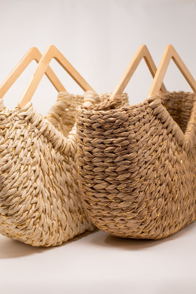 Mindy Metallic Woven Straw Bag