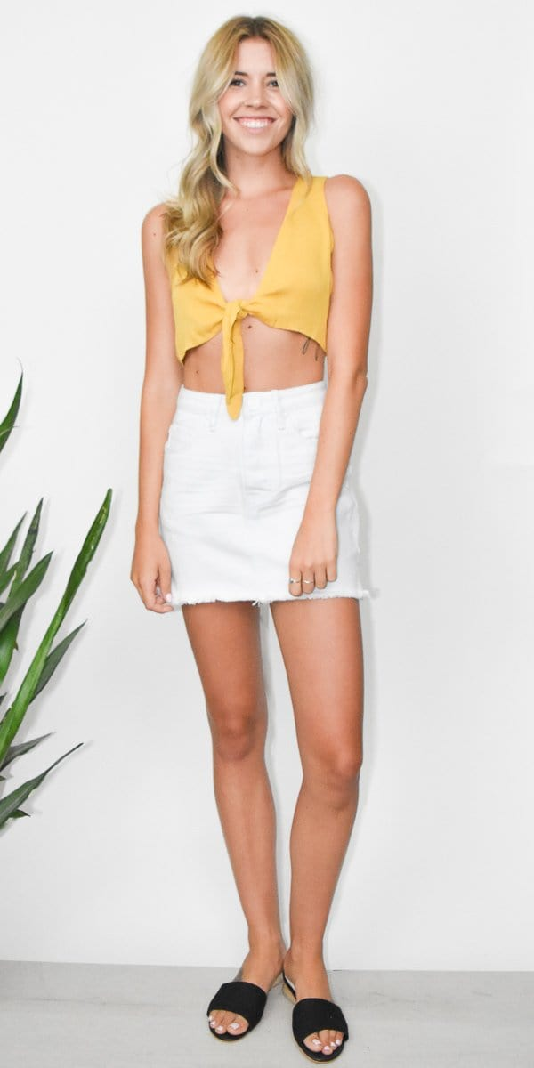 Wild Dove Boutique Yellow Cropped Tie Top