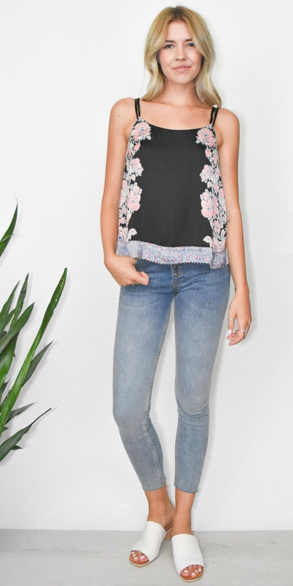 Free People Move Lightly Printed Cami in Black Combo