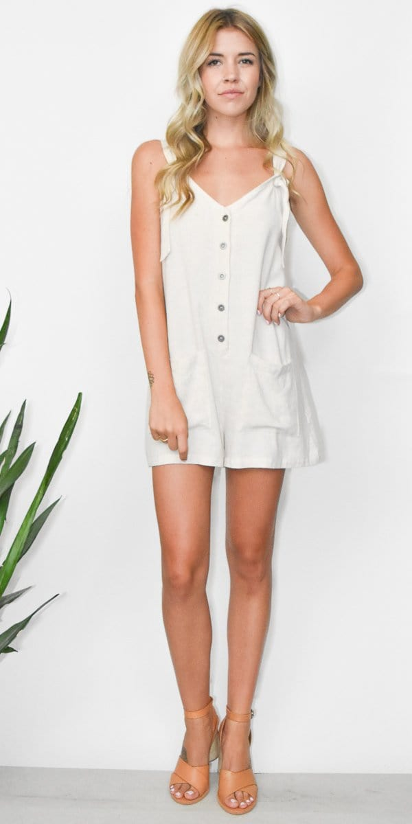 Lost + Wander Creme De La Creme Romper in Natural