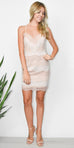 Wild Dove Boutique Nude Lace Mini Dress with Strappy Back