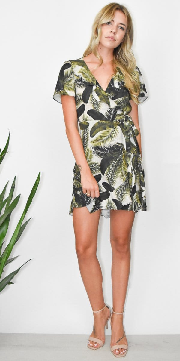Show Me Your Mumu Winnie Wrap Dress in Fronds of Mine
