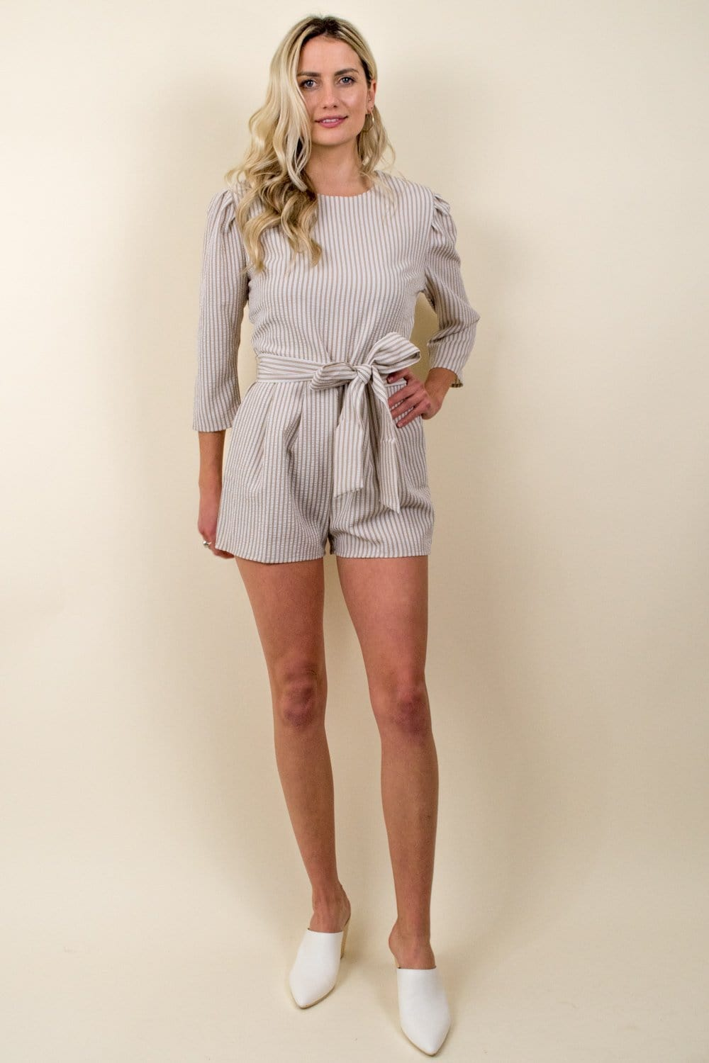 En Saison Striped Crew Neck Romper Natural