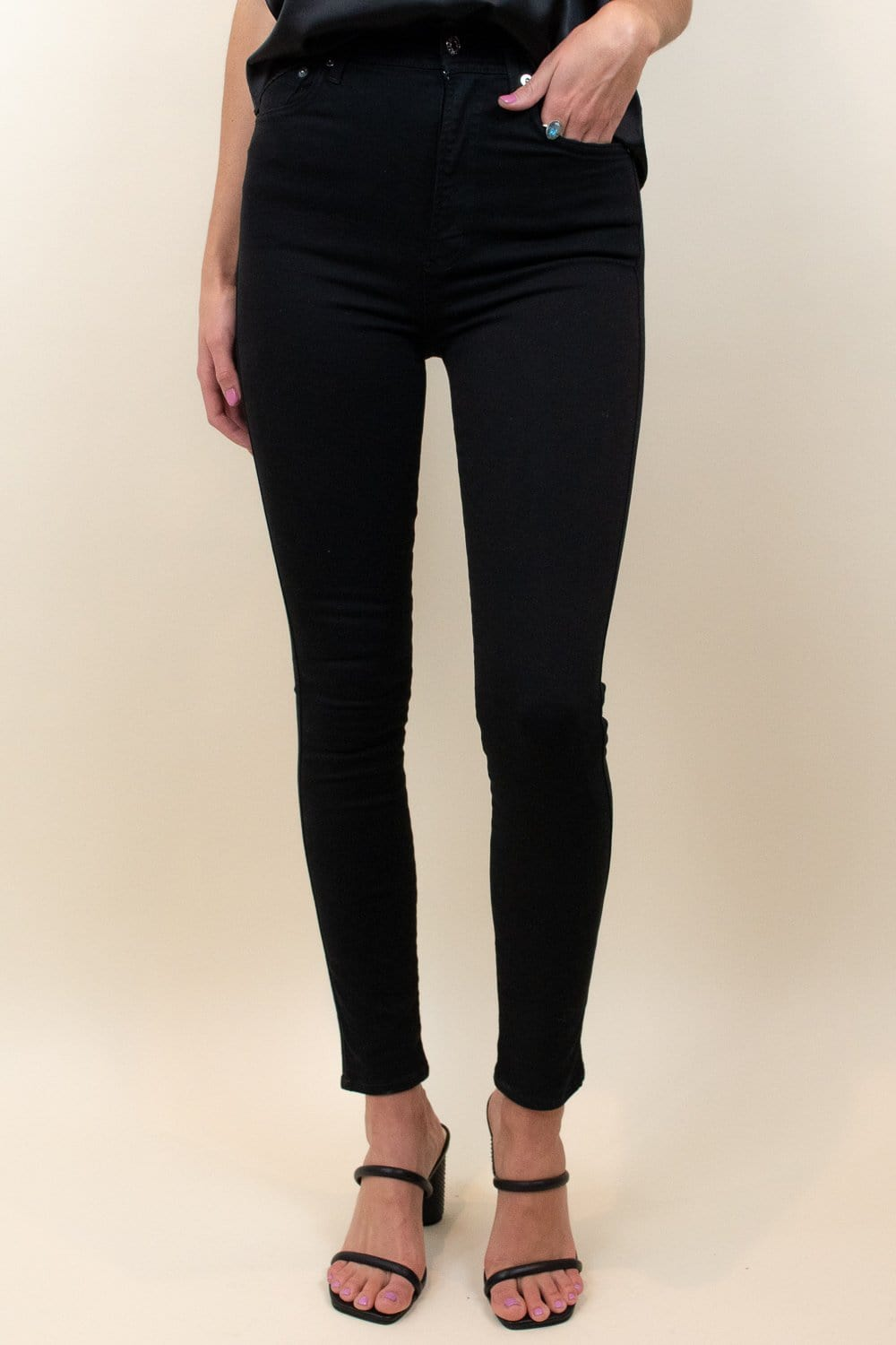 AGOLDE Roxanne Super High-Rise Ankle Skinny Jeans Jet