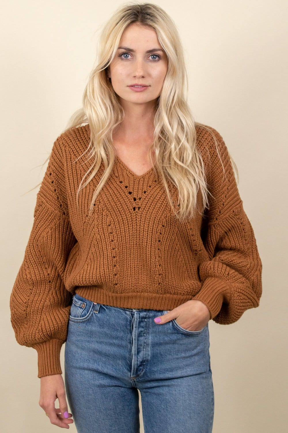 Free People All Day Long V Sweater Sahara