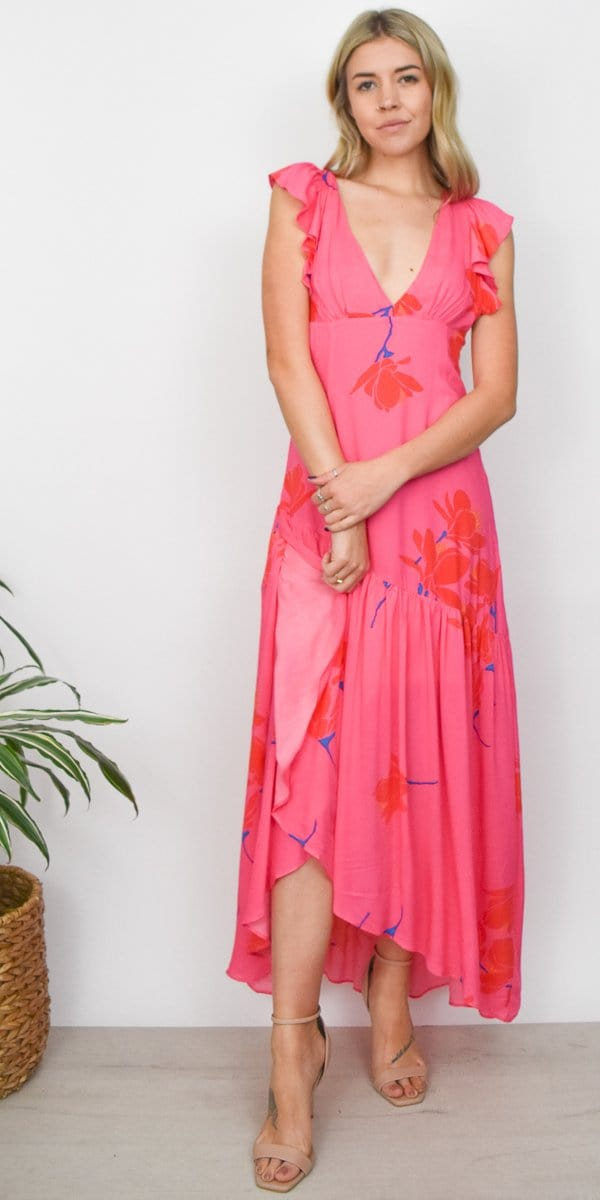 Free People She's a Waterfall Maxi Dress in Pink Combo