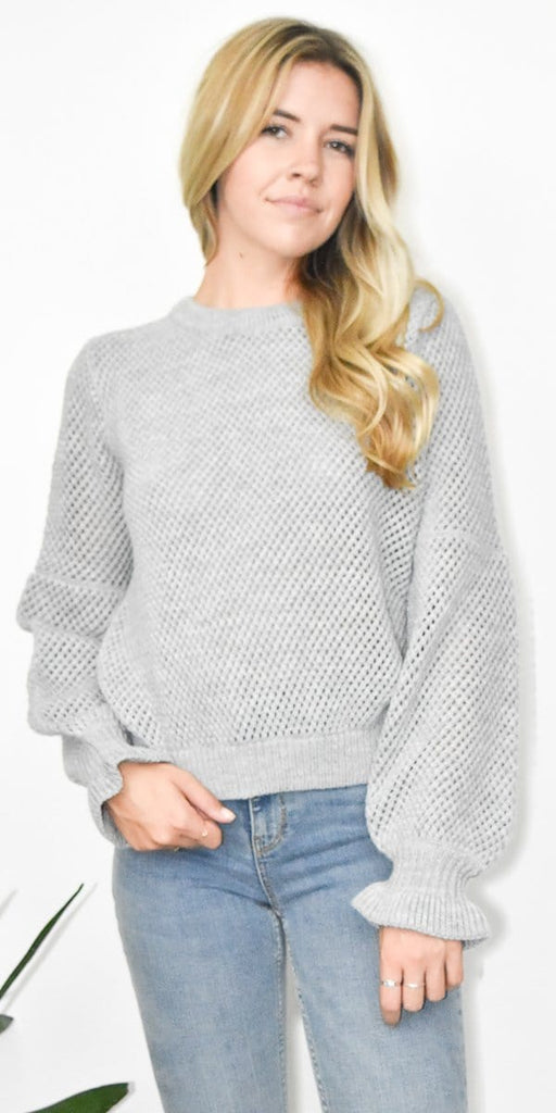 The Fifth Label Pitched Knit Sweater Top in Grey