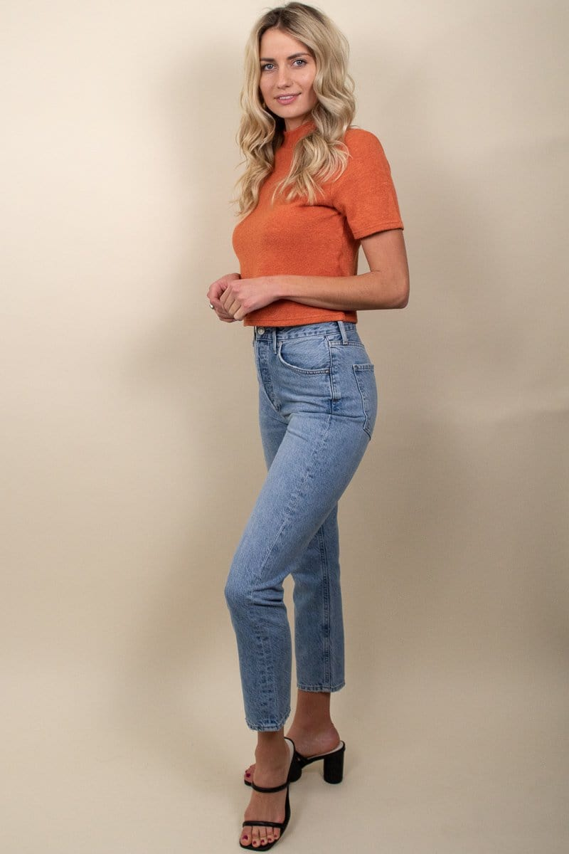 MINKPINK High Neck Rib Tee Burnt Orange