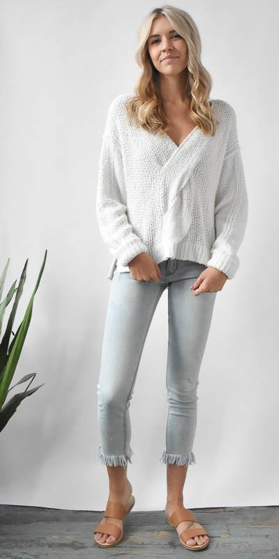 Free People Coco Vneck Sweater in White