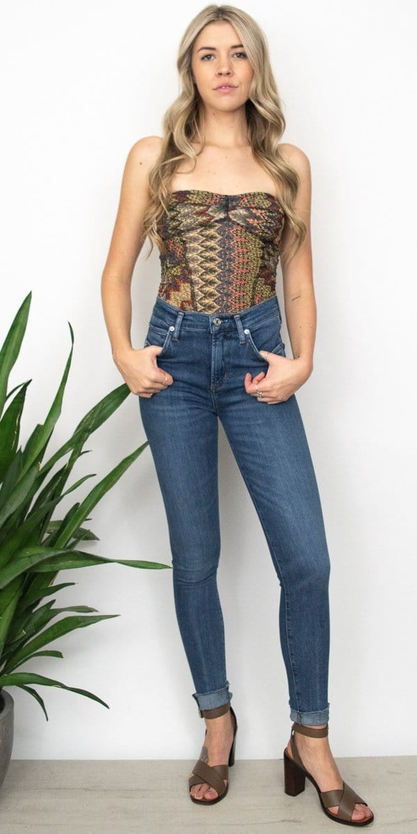 Free People Too Chic Tube Top in Earth Combo