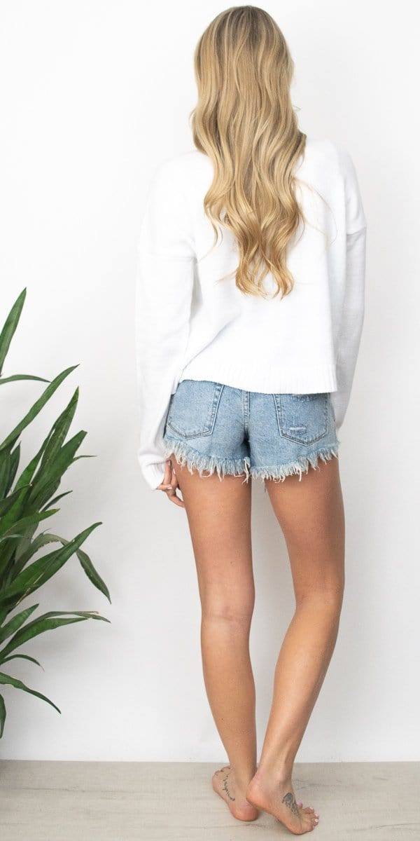 Show Me Your Mumu Cropped Varsity Sweater Vacay Graphic