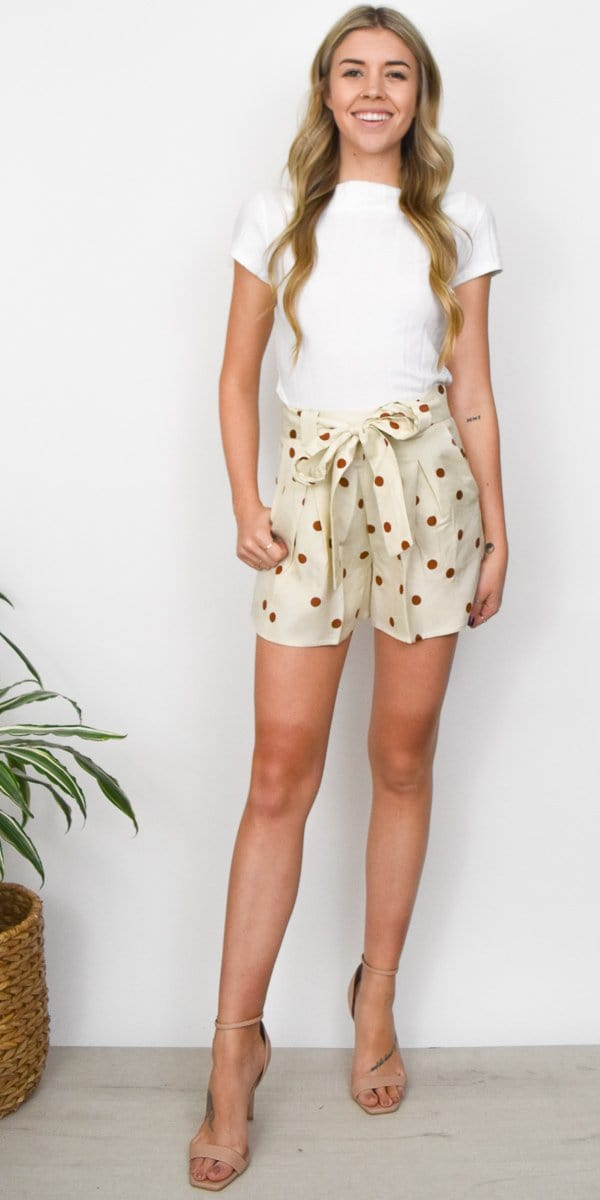 Moon River Tie Waist Pleated Shorts in Cream Polka Dot
